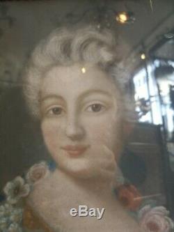 Huile Sur Toile Époque Xixème Portrait De Dame De Cour French Painting