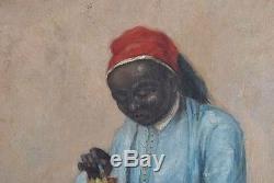 Huile sur panneau orientaliste homme à la chicha époque XIX eme