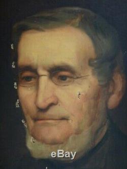 Huile sur toile Portrait d'homme à identifier époque XIXeme