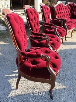 Important salon Napoléon III en palissandre dix pièces époque XIX ème siècle
