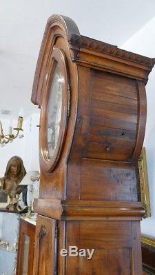 Importante Horloge De Parquet En Noyer, Forme Très Originale, époque XIX ème