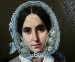 J-B Bonjour Portrait de Femme Epoque Louis Philippe HST du XIXème siècle