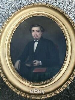J. DELION XIXéme portrait d'homme ovale d époque Napoléon III