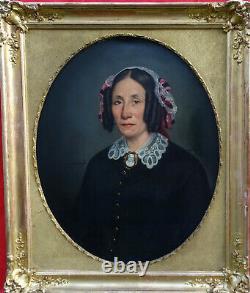 J. F. Layraud Portrait de Femme d'Epoque Second Empire HST du XIXème siècle