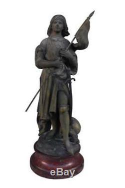 Jeanne d'Arc Hippolyte Moreau régule sur marbre griotte époque XIXème