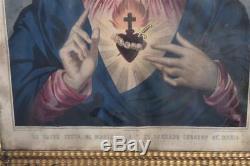 Jésus et Marie paire de Gravures cadre doré époque XIXème