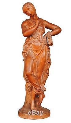 Jeune femme drapée terre cuite cachet LACOUR d'époque XIXème