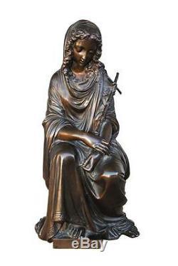 Jeune fille au crucifix en bronze par Duchoiselle époque XIXème