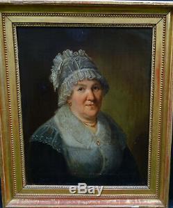 Johann Mottét Portrait de Femme Epoque fin Ier Empire HST XIXème siècle