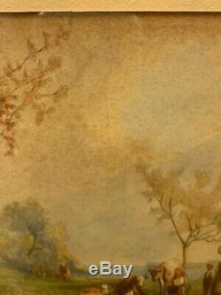 Karl Girardet Ancienne aquarelle paysage animé époque XIXème