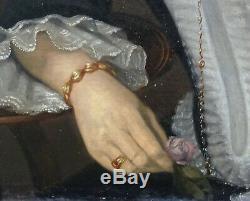 L. G. Moreau Portrait de Femme HST époque Louis Philippe XIXème siècle
