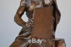 L'étude et la méditation bronze par Paul Dubois (1827-1905) d'époque XIXème