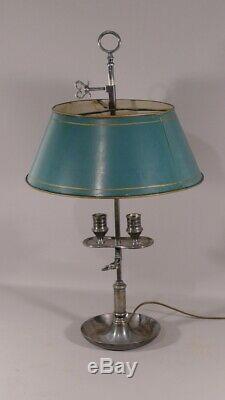 Lampe Bouillotte En Bronze Argenté Et Tôle Peinte, époque XIX ème