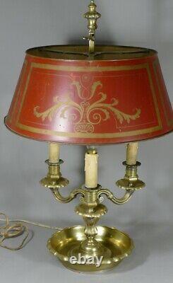 Lampe Bouillotte Louis XIV En Bronze Et Tôle Peinte, époque XIX ème