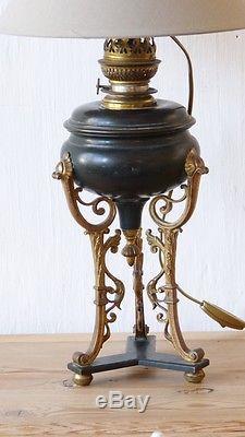 Lampe De Style Empire En Bronze Doré Et Patiné, époque XIX ème