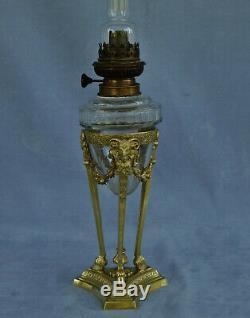 Lampe à Pétrole Athénienne Bronze et Cristal Têtes Béliers Epoque Empire XIXème
