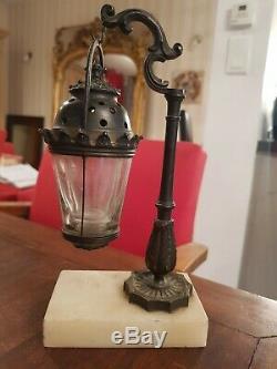 Lampe veilleuse ancienne en marbre et bronze, époque fin XIX ème s