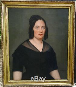 Layraud Portrait de Femme Epoque Second Empire Huile sur Toile XIXème siècle