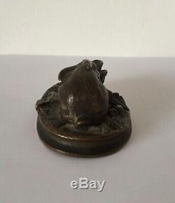 Le petit lapin et le chou, sujet animalier en bronze d époque XIX ème siècle