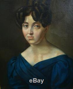 Léonard POYET Portrait De Femme Epoque Louis Philippe Hst Du XIXème Siècle