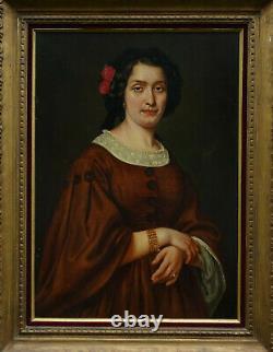 Leyat Portrait de Femme Marie Faure d'Epoque Second Empire HST du XIXème siècle