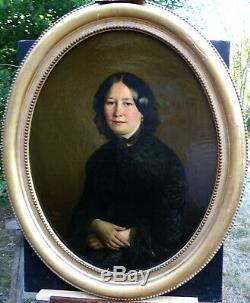 Lina Vallier Grand Portrait de Femme d'Epoque Second Empire HST du XIXème siècle