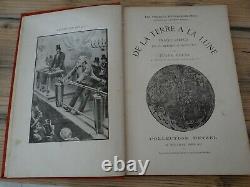 Livre d'Epoque Jules verne De la Terre à la Lune Voyages extraordinaire