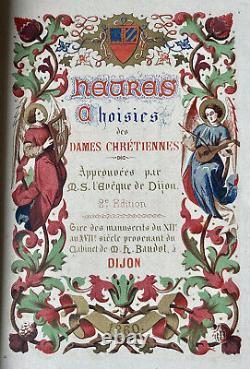 Livre dHeures Religion & Piété Fleurs de Lys & Couronne Comtale Époque XIX ème