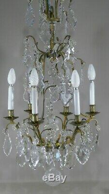 Lustre Cage En Cristal, Verre Et Bronze, époque XIX ème de style Louis XV