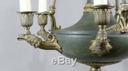 Lustre De Style Empire Aux Aigles En Bronze Doré Et Tôle Verte, époque XIX ème