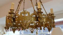 Lustre De Style Médiéval, Néogothique En Bronze Doré, époque XIX ème