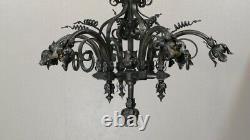 Lustre De Style Néo-gothique Viollet Le Duc En Fer Et Tôle, époque Fin XIX ème
