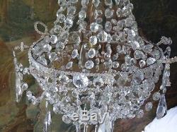 Lustre De Voyage En Cristal, Forme Corbeille Montgolfière, époque Milieu XIX ème