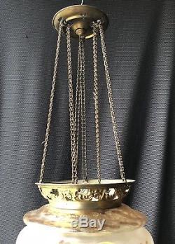 Lustre / Lanterne Napoleon IIII En Verre Émaillé Et Peint Epoque Xixeme