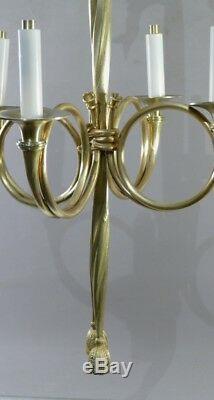 Lustre Louis XVI Aux Cors De Chasse Et Passementerie, Bronze Doré époque XIX ème