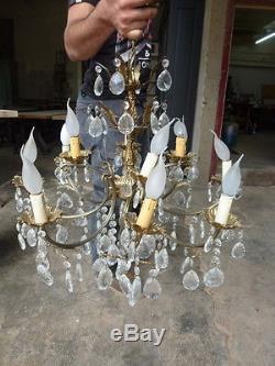 Lustre à pampilles 12 lumières en bronze époque fin xixème complet