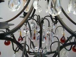 Lustre à pampilles couleur à six bras de lumières époque fin XIX ème siècle