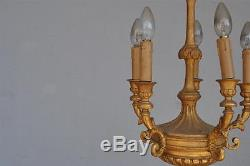 Lustre bois doré époque fin XIXème 6 feux