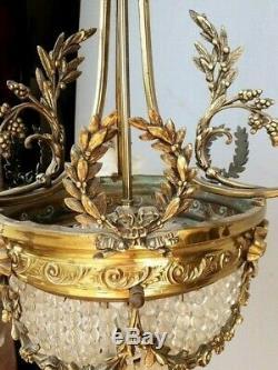 Lustre montgofiere / corbeille epoque XIX em bronze
