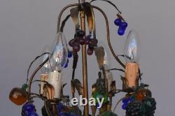 Lustre pampille en bronze époque fin XIXème et breloques colorées