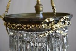 Lustre-suspension, bronze et pampilles, ancien bec à gaz époque fin XIXème