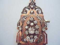 MAGNIFIQUE PENDENTIF BROCHE ANCIEN OR 18K DIAMANTS époque XIX ème or 18 carats