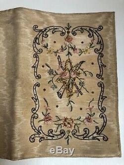 Magnifique ancienne reliure de livre ou pochette en tissu brodé d'époque XIXème