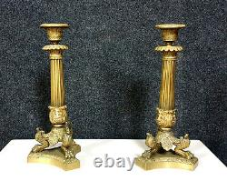 Magnifique paire de chandeliers Empire en bronze doré époque XIXeme