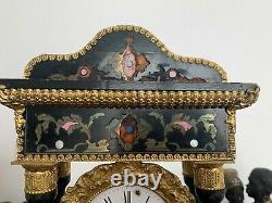 Magnifique pendule poétique époque Napoleon III à colonnes XIXème