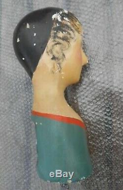 Marotte ancienne papier mâché chapeau mannequin époque XIXème