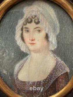 Miniature Peinture Portrait de Femme à la Coiffe Époque XIX ème Antique Painting