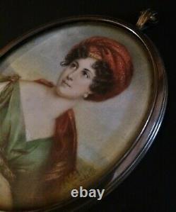 Miniature de qualité époque début XIXème portrait de Mme de Stael signée