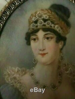 Miniature représentant le portrait de l'impératrice Joséphine, époque XIX ème