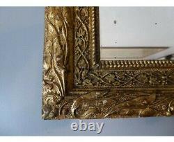 Miroir Ancien en bois doré décor de végétaux époque fin XIXème 25x31cm